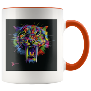 Amatullainc. Sabertooth Mug is a high-quality 11oz. Ceramic white accent mug has a premium hard coat that provides crisp and vibrant color reproduction sure to last for years. Perfect for all hot & cold beverages which have a High Gloss + Premium White Finish with ORCA Coating Dishwasher and Microwave Safe.