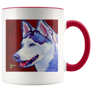 Amatullainc. Siberian Husky Mug is a high-quality 11oz. Ceramic white accent mug has a premium hard coat that provides crisp and vibrant color reproduction sure to last for years. Perfect for all hot & cold beverages which have a High Gloss + Premium White Finish with ORCA Coating Dishwasher and Microwave Safe.