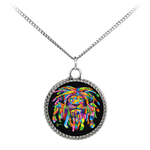 Accessorize your outfit with this beautiful necklace featuring a UV printed coin charm. The charm is silver plated with a deco patterned border. The necklace is comprised of a sterling silver plated brass chain with an elegant matte finish.
