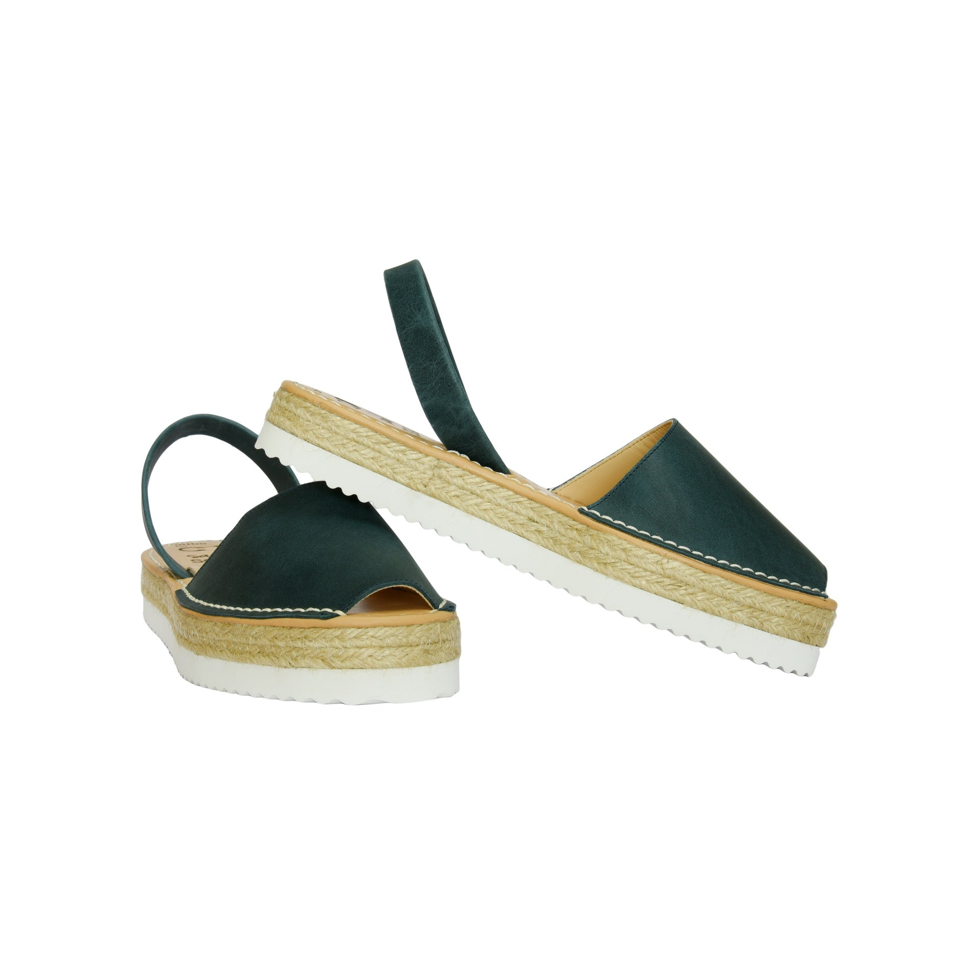 Women's Navy Leather Espadrille Flatform Mibo Avarca Sandals