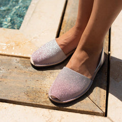 Women's Pink and Silver Glitter Mibo Avarca Sandals