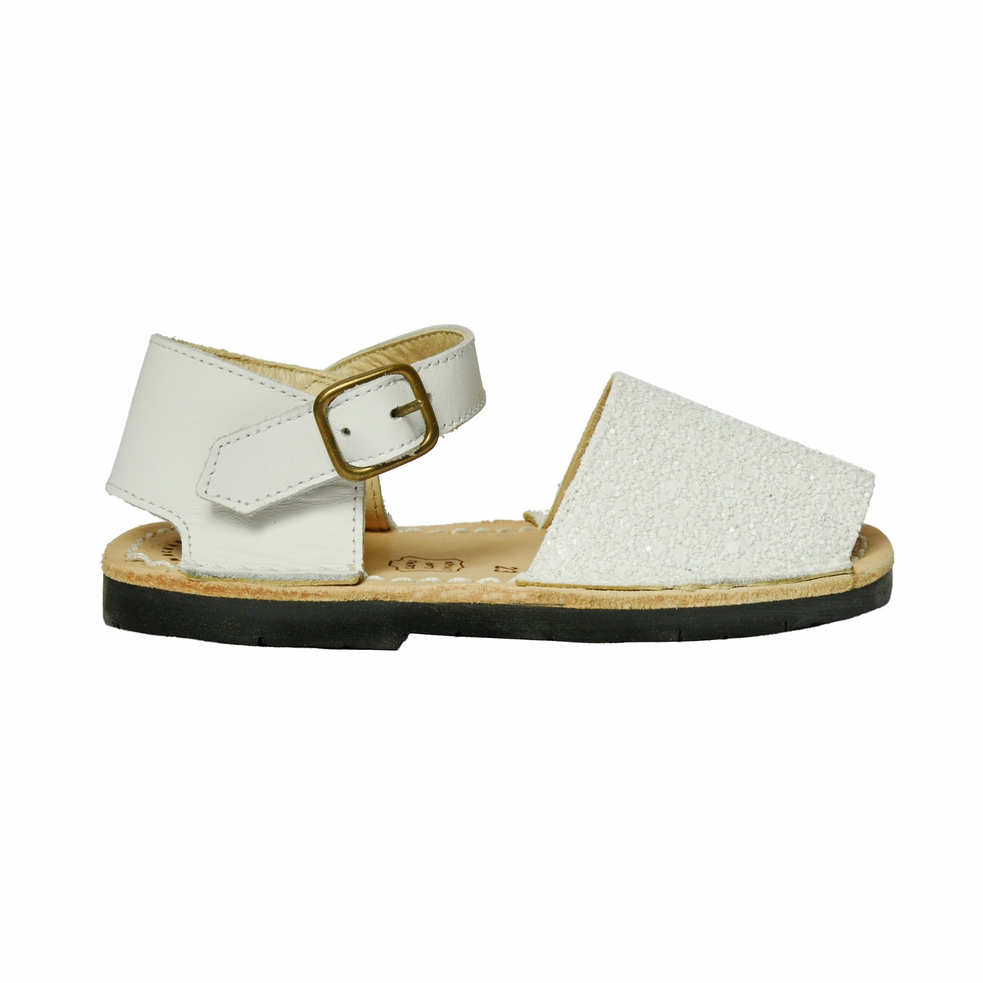 Kid's White Glitter Mibo Avarca Sandals with Buckle Strap