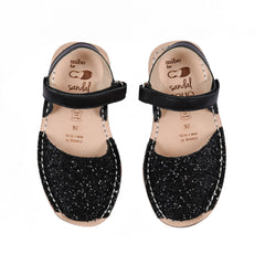 Kid's Black Glitter Mibo Avarca Sandals with Velcro Strap