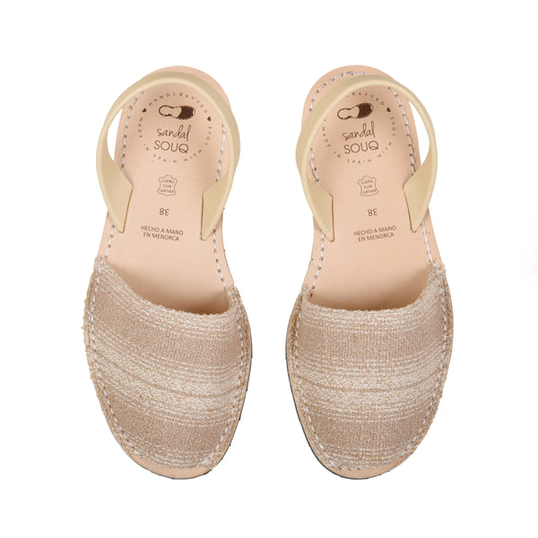 Women's Beige Fabric Mibo Avarca Sandals