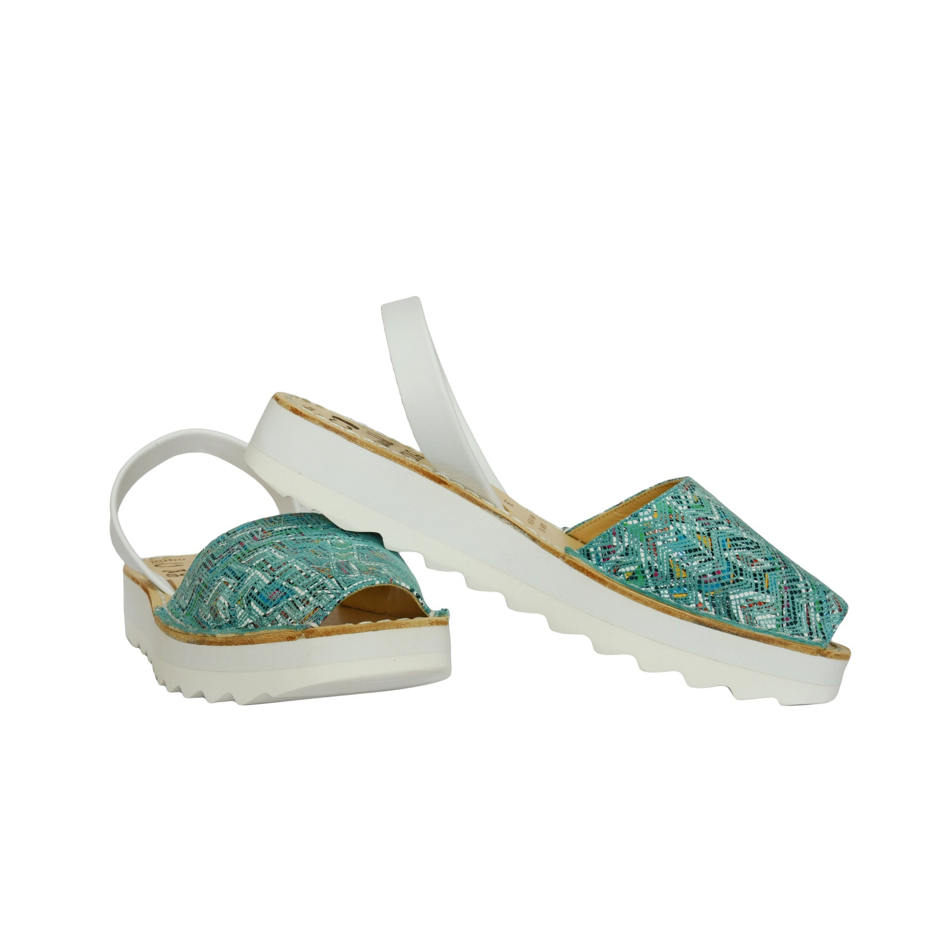 Turquoise Mibo Avarca Flatform Sandals for Women