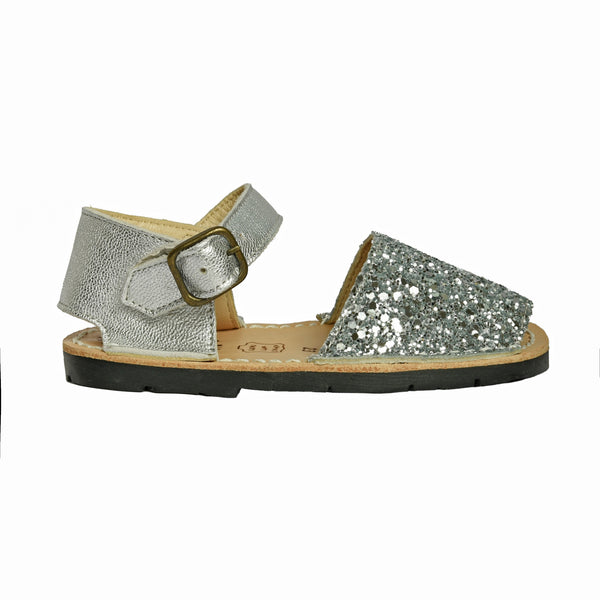 Kid's Silver Glitter Mibo Avarca Sandals with Buckle Strap
