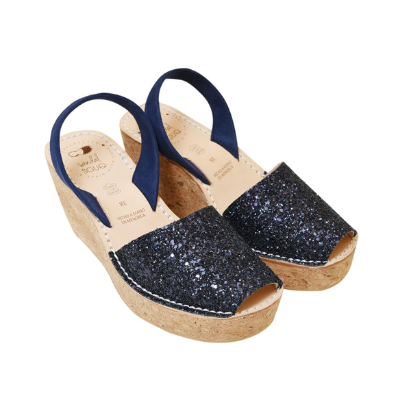 Marino Glitter Cork Wedge