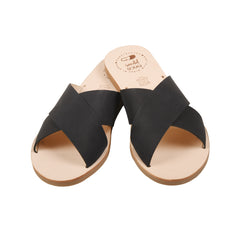 Women's Black Leather Mibo Strap Sandals