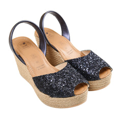 Women's Mibo Navy Glitter Espadrille Wedge