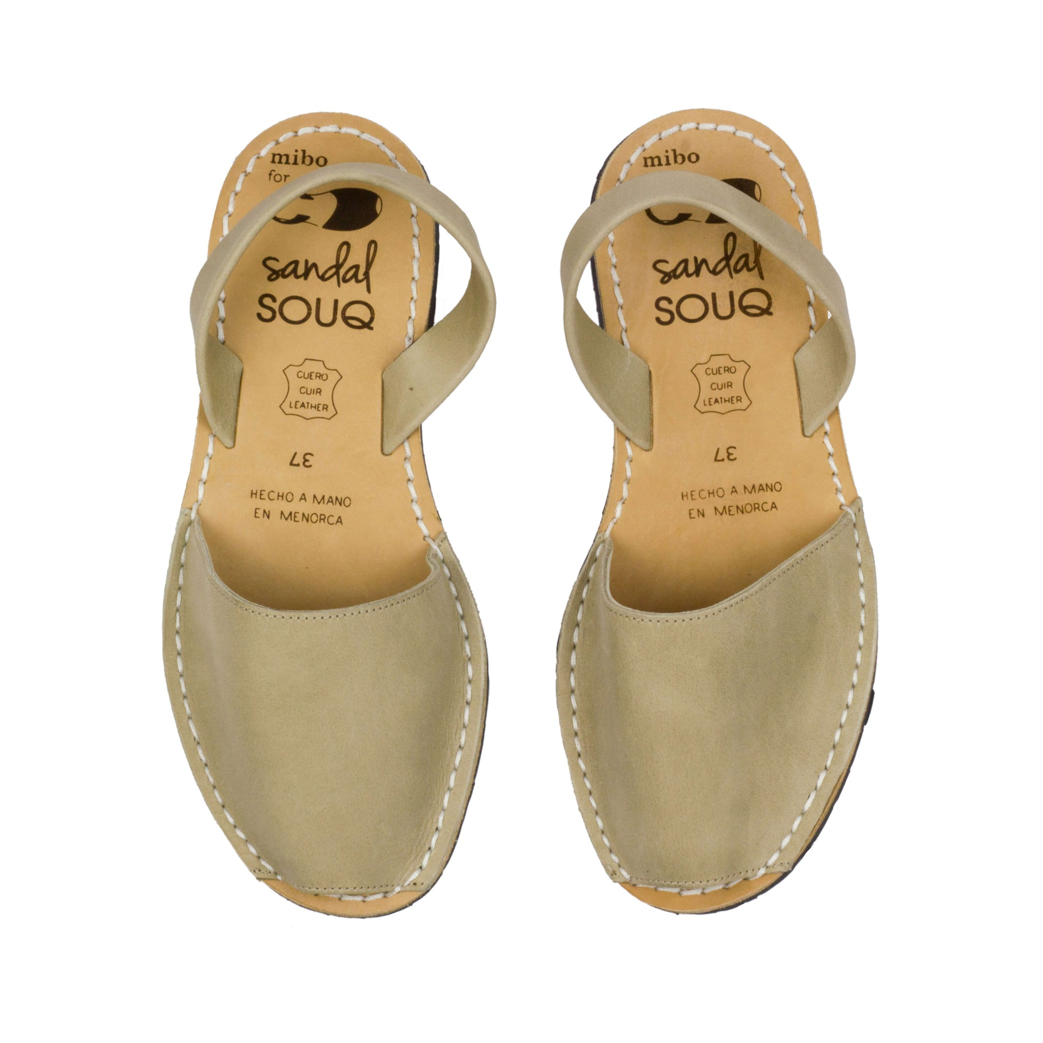 Women's Beige Leather Mibo Avarca Sandals