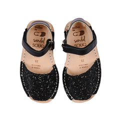 Kid's Black Glitter Mibo Avarca Sandals with Velcro Strap and Heel Support
