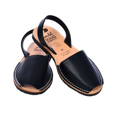 Women's Black Leather Mibo Avarca Sandals
