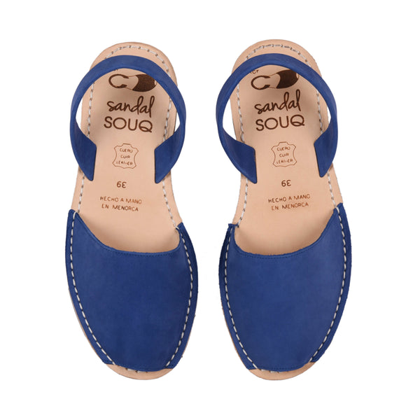 Women's Blue Nubuck Mibo Avarca Sandals