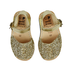 Kid's Gold Glitter Mibo Avarca Sandals with Buckle Strap