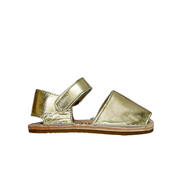 Gold Leather Mibo Avarca Sandals for Babies