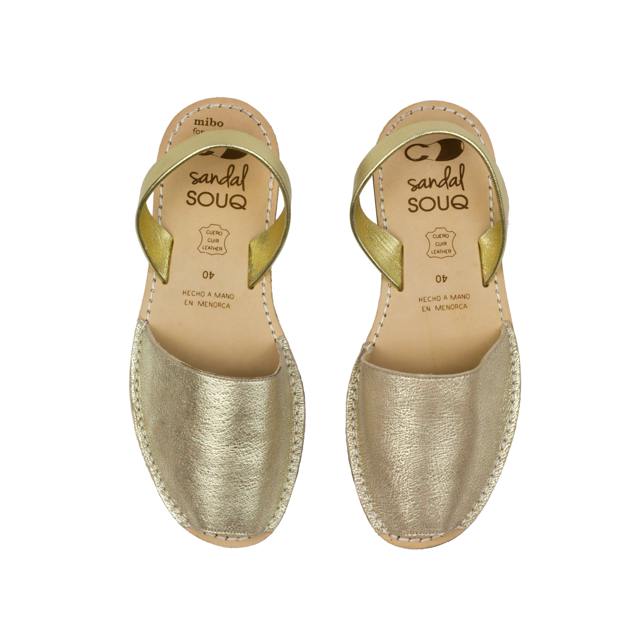 Women's Gold Leather Mibo Avarca Sandals