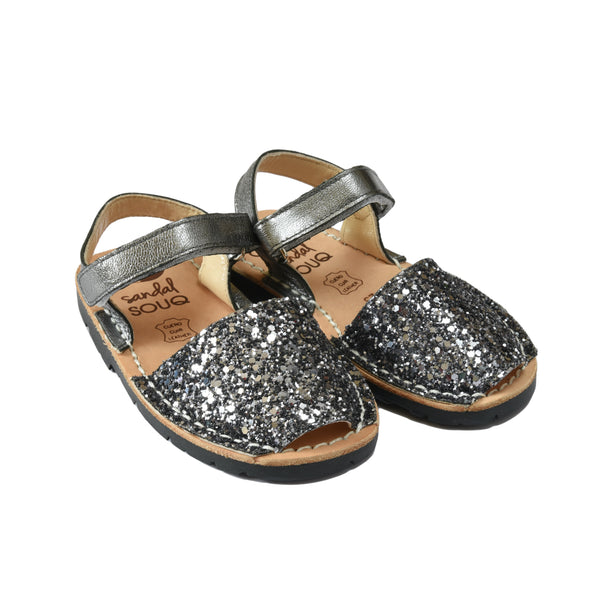 Kid's Grey Glitter Mibo Avarca Sandals with Velcro Strap