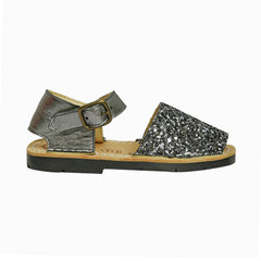 Kid's Grey Glitter Mibo Avarca Sandals with Buckle Strap