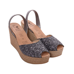 Women's Dark Grey Glitter Mibo Mid Espadrille Wedges