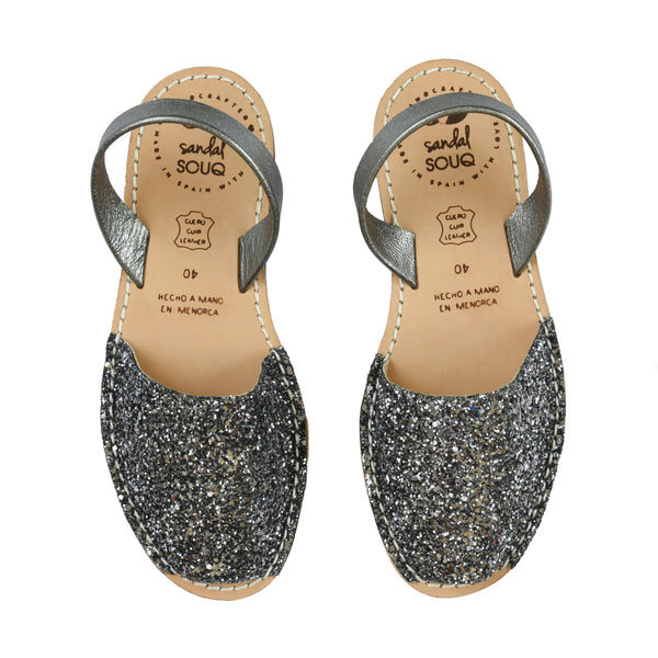 Women's Dark Grey Glitter Mibo Avarca Sandals