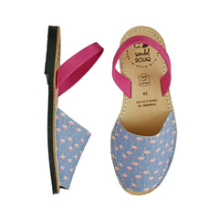 Women's Lavender and Fuchsia Flamingo Print Mibo Avarca Sandals