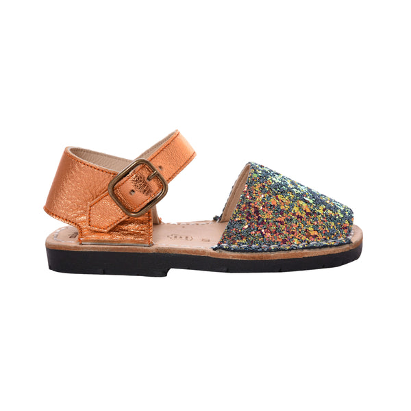 Kid's Iridescent Orange and Green Glitter Mibo Avarca Sandals with Buckle Strap
