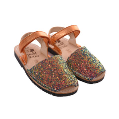 Kid's Iridescent Orange and Green Glitter Mibo Avarca Sandals with Velcro Strap