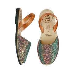Women's Iridescent Orange and Green Glitter Mibo Avarca Sandals