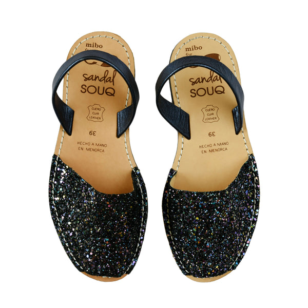 Women's Dark Multi Colour Glitter Mibo Avarca Sandals