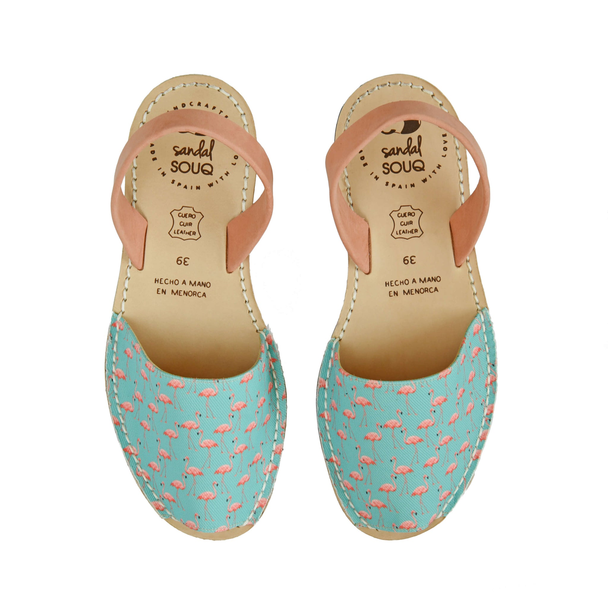Women's Mint and Peach Flamingo Print Mibo Avarca Sandals