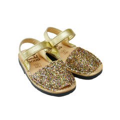 Kid's Multi Glitter Mibo Avarca Sandals with Velcro Strap