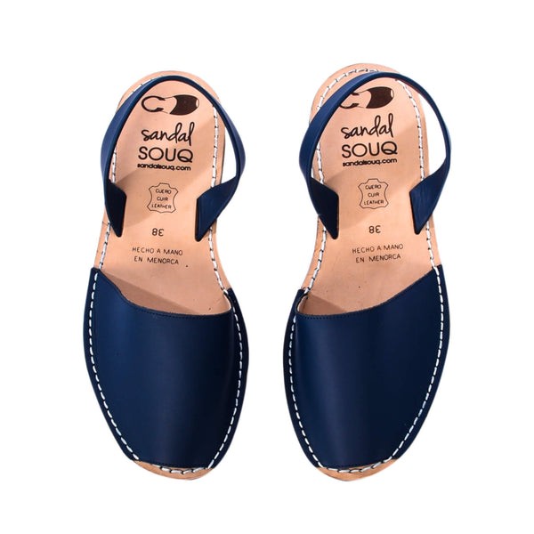 Women's Navy Blue Leather Mibo Avarca Sandals