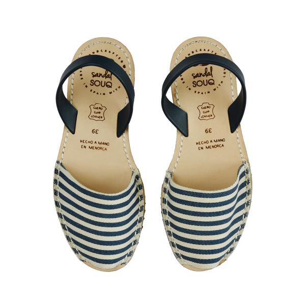 Women's Navy and White Stripe Mibo Avarca Sandals