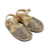 Kid's Rose Gold Glitter Mibo Avarca Sandals with Velcro Strap