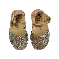 Kid's Rose Gold Glitter Mibo Avarca Sandals with Buckle Strap