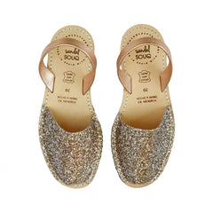 Women's Rose Gold Glitter Avarca Sandals