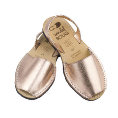 Women's Rose Gold Metallic Leather Mibo Avarca Sandals