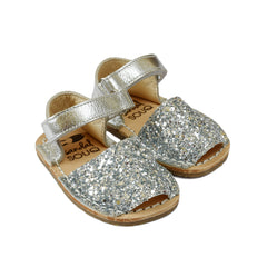 Silver Glitter Mibo Avarca Sandals for Babies