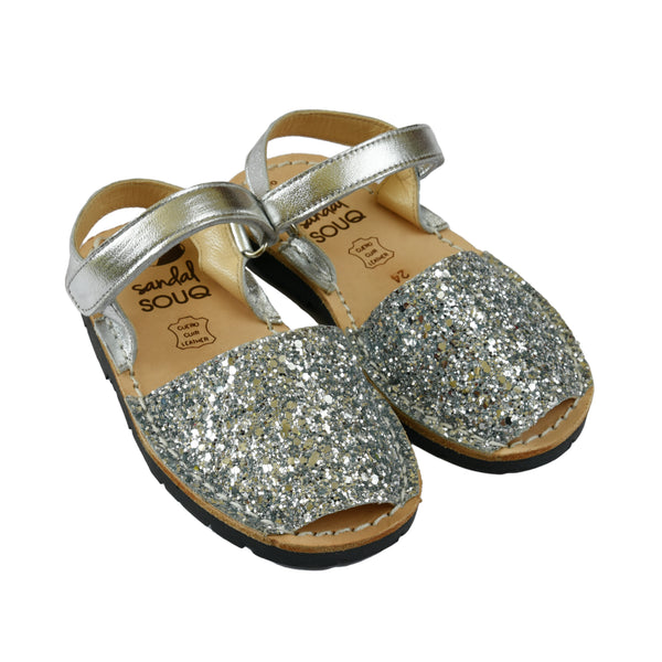 Kid's Silver Glitter Mibo Avarca Sandals with Velcro Strap