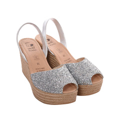 Women's Silver Glitter Mibo Mid Espadrille Wedges