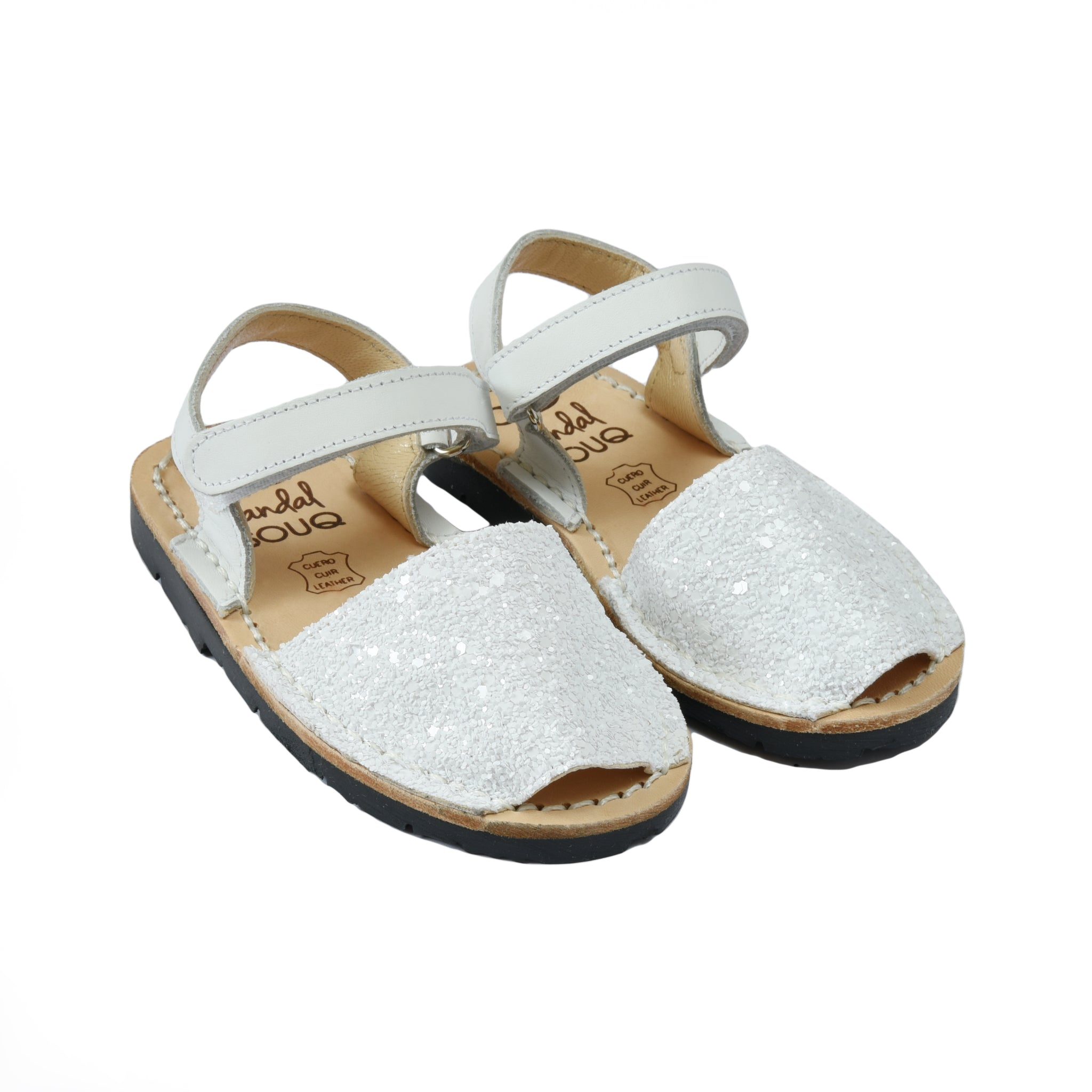 Kid's White Glitter Mibo Avarca Sandals with Velcro Strap