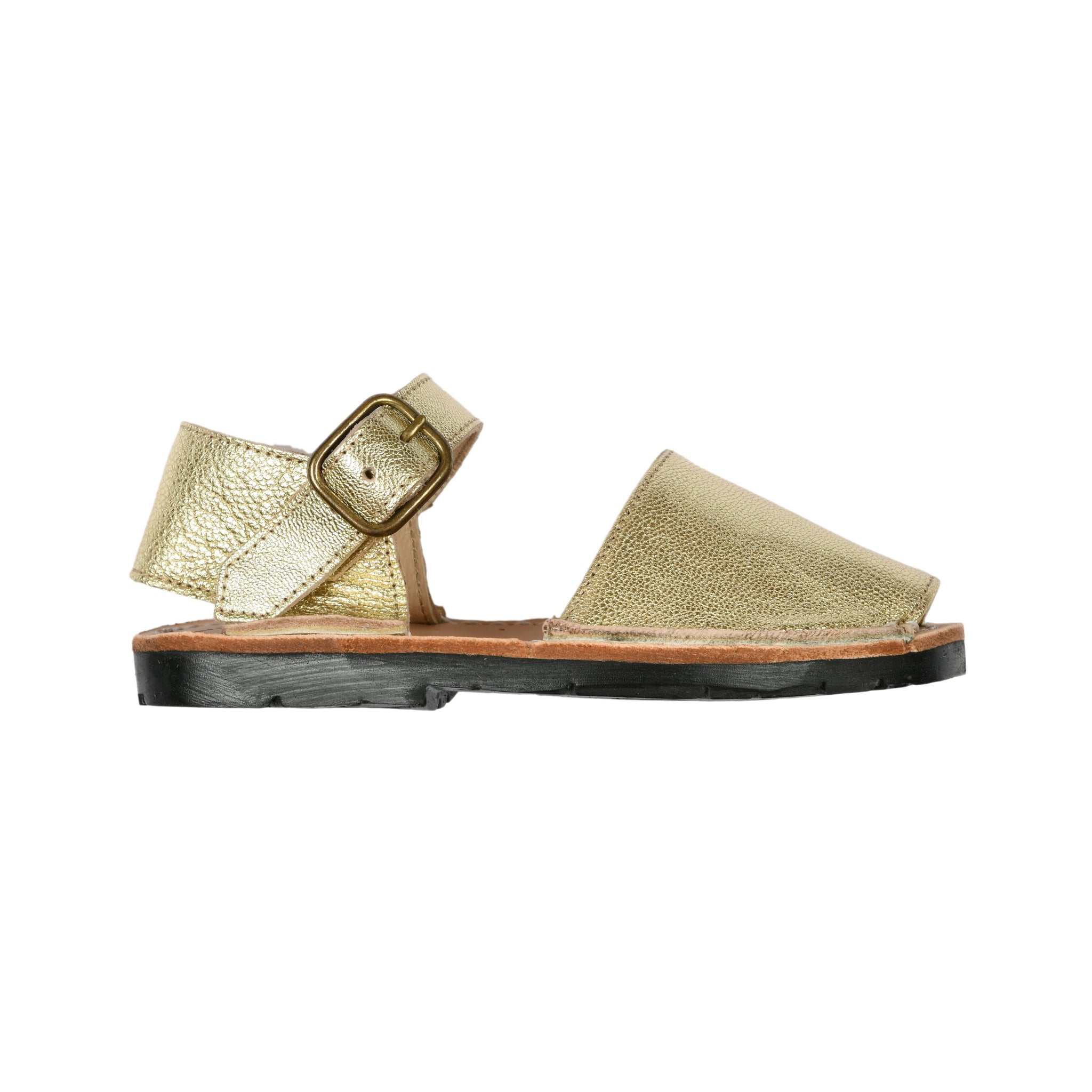 Little Kids Mibo Gold Leather Avarca Sandals