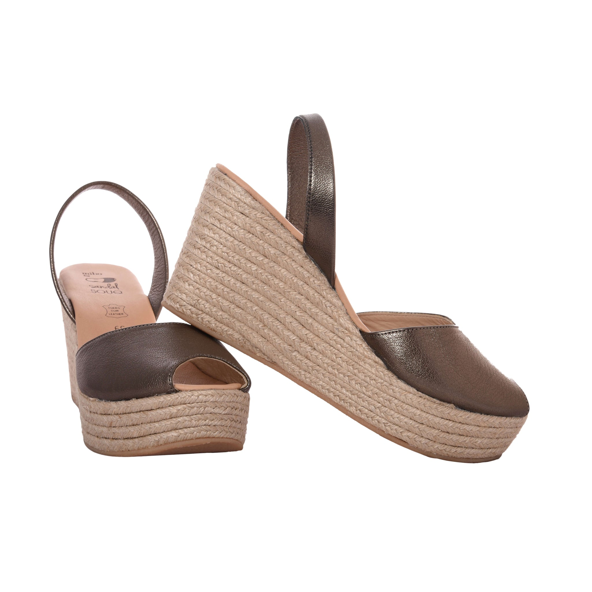 Women's Brass Leather Mibo Mid Espadrille Wedges