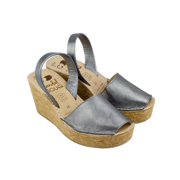 Gun Metal Leather Cork Wedge غونميتال، جلد، فلين، ويدج
