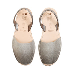 Women's Grey and Silver Glitter Mibo Avarca Sandals