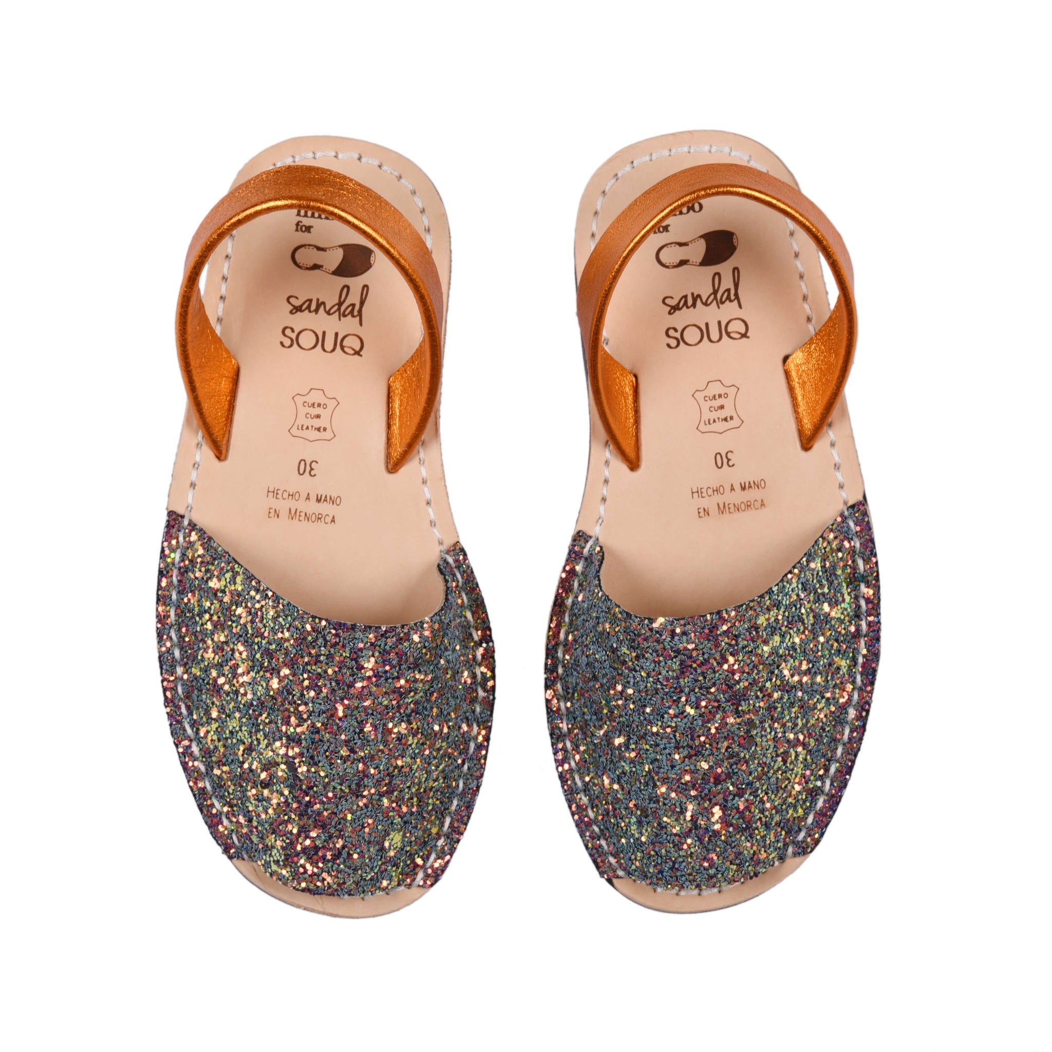 Kid's Iridescent Orange and Green Glitter Mibo Avarca Sandals