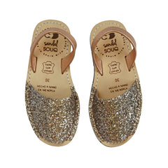 Kid's Rose Gold Glitter Mibo Avarca Sandals