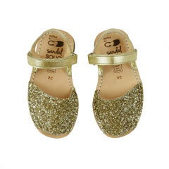 Kid's Gold Glitter Mibo Avarca Sandals with Velcro Strap