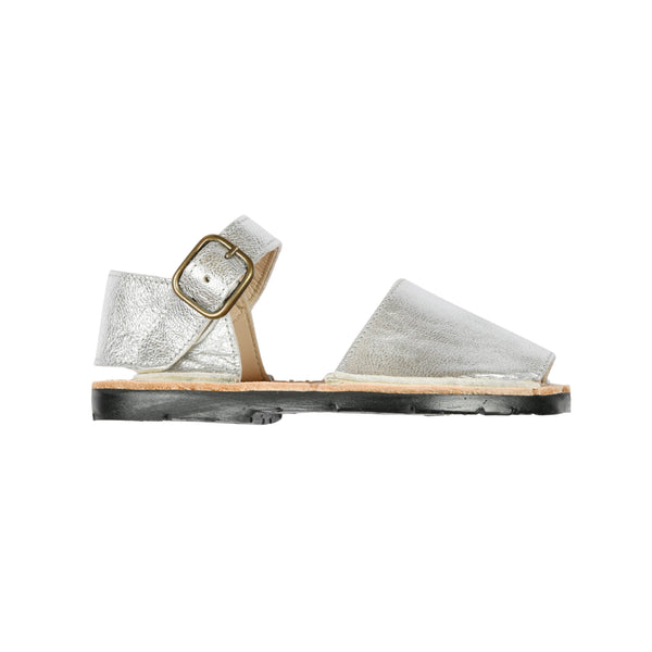 Little Kids Mibo Silver Leather Avarca Sandals