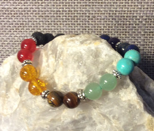 Chakra Bracelet with Diffuser Beads